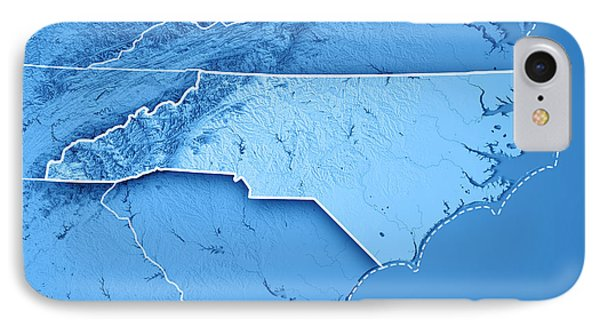 North Carolina State Usa 3d Render Topographic Map Blue Border IPhone Case