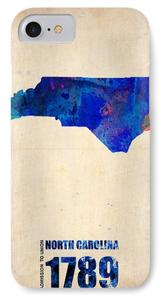 North Carolina Watercolor Map IPhone Case by Naxart Studio