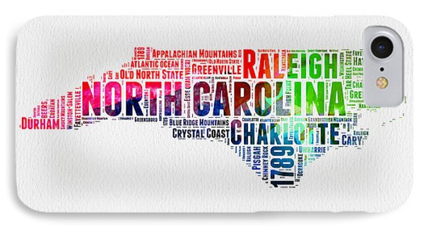North Carolina Watercolor Word Cloud Map IPhone Case by Naxart Studio