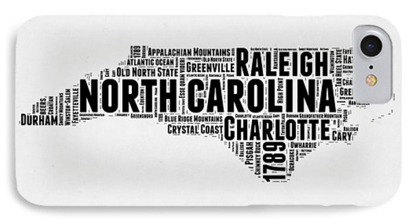 North Carolina Word Cloud Map 2 IPhone Case by Naxart Studio