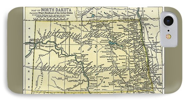 North Dakota Antique Map 1891 IPhone Case