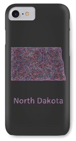 North Dakota Map IPhone Case by David Zydd