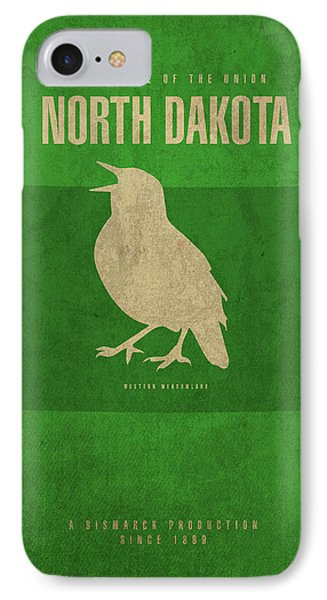 Meadowlark iPhone 7 Case - North Dakota State Facts Minimalist Movie Poster Art by Design Turnpike
