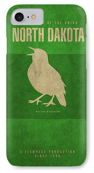 North Dakota State Facts Minimalist Movie Poster Art IPhone Case by Design Turnpike