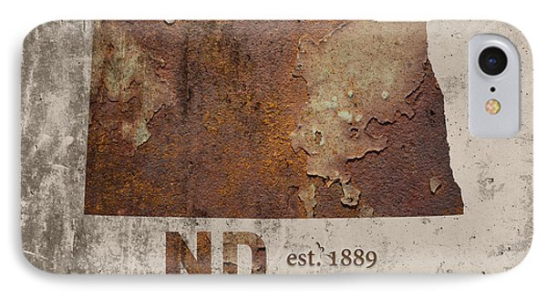North Dakota State Map Industrial Rusted Metal On Cement Wall With Founding Date Series 025 IPhone Case