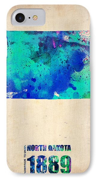 North Dakota Watercolor Map IPhone Case by Naxart Studio
