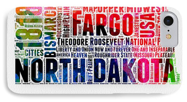 North Dakota Watercolor Word Cloud  IPhone Case by Naxart Studio