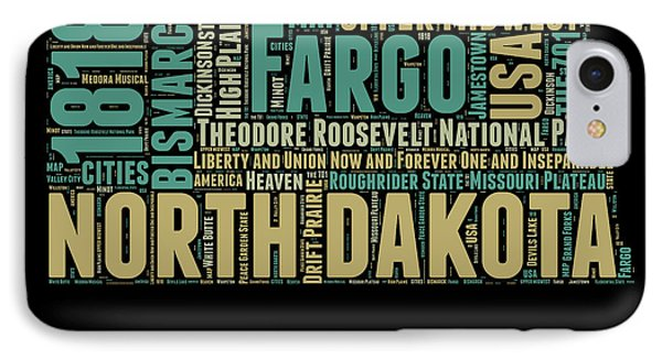 North Dakota Word Cloud 1 IPhone Case
