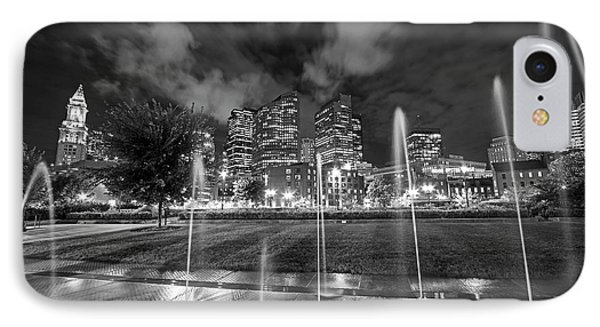 North End Park Fountains Boston Ma Black And White IPhone Case by Toby McGuire