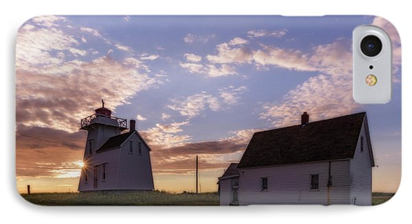 North Rustico Lighthouse At Sunrise IPhone Case by Chris Bordeleau