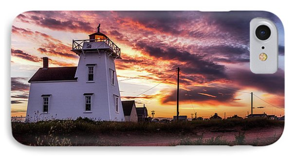 North Rustico Lighthouse Sunset IPhone Case by Chris Bordeleau