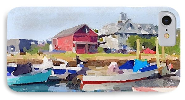North Shore Art Association At Pirates Lane On Reed's Wharf From Beacon Marine Basin IPhone 7 Case by Melissa Abbott