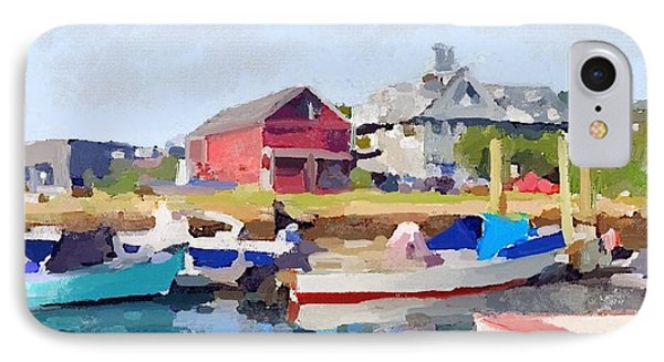 North Shore Art Association At Pirates Lane On Reed's Wharf From Beacon Marine Basin Phone Case by Melissa Abbott