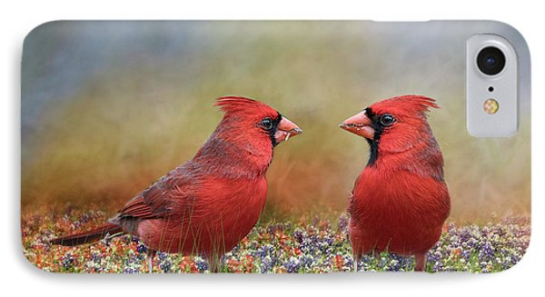 IPhone Case featuring the photograph Northern Cardinals In Sea Of Flowers by Bonnie Barry