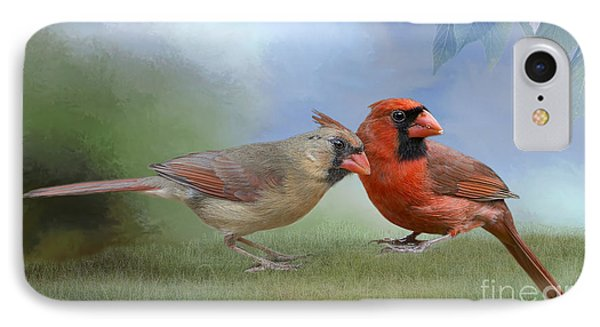 IPhone Case featuring the photograph Northern Cardinals On A Spring Day by Bonnie Barry