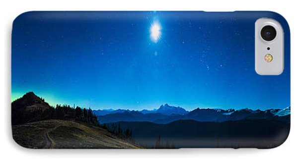 Northern Lights, Moon, And Mount Baker IPhone Case