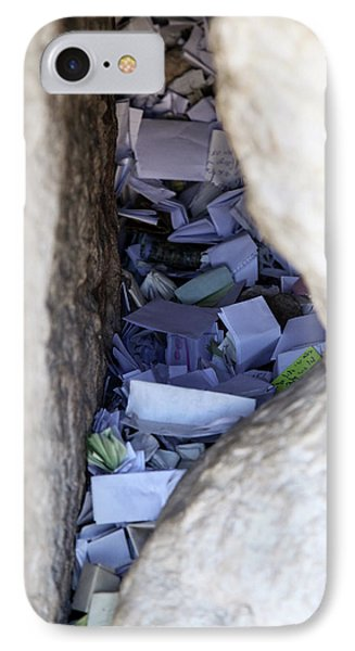 IPhone Case featuring the photograph Notes In The Wailing Wall  by Yoel Koskas
