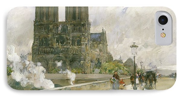 Notre Dame Cathedral - Paris Phone Case by Childe Hassam