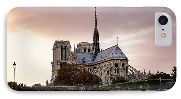 IPhone Case featuring the photograph Notre Dame Cathedral Sunset by Ivy Ho