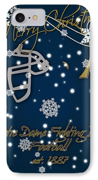 Notre Dame Fighting Irish Christmas Card IPhone Case by Joe Hamilton
