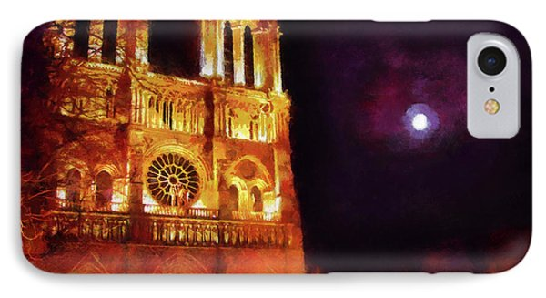 IPhone Case featuring the painting Notre Dame In The Autumn Moonlight by Menega Sabidussi