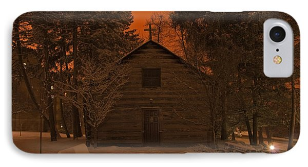 Notre Dame Log Chapel Winter Night IPhone Case by John Stephens