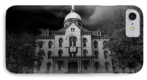 IPhone Case featuring the photograph Notre Dame University Black White 3a by David Haskett