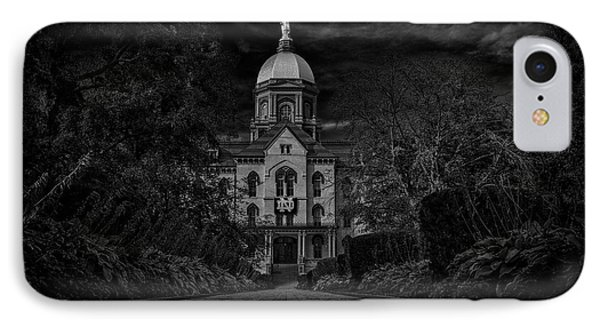 IPhone Case featuring the photograph Notre Dame University Golden Dome Bw by David Haskett