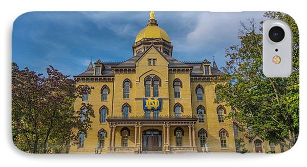 IPhone Case featuring the photograph Notre Dame University Golden Dome by David Haskett