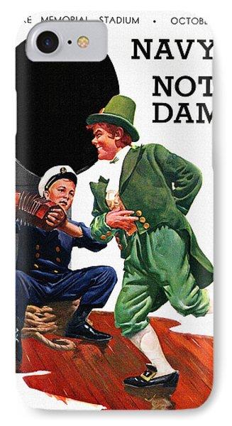Football iPhone 7 Case - Notre Dame V Navy 1954 Vintage Program by John Farr