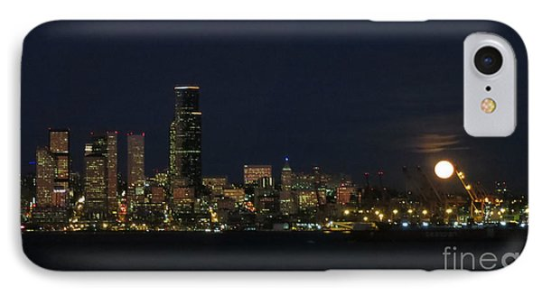 November Beaver Moon Rises Over Seattle IPhone Case by Tanya Searcy