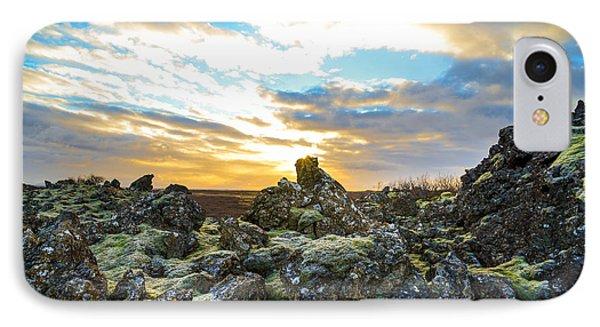 November Light Over Icelandic Lava Field IPhone Case