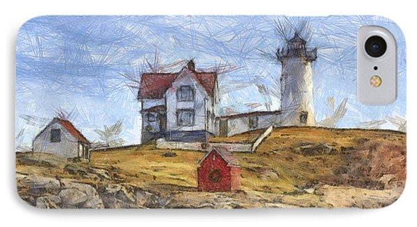 Nubble Light Cape Neddick Lighthouse Sohier Park York Maine Pencil IPhone Case by Edward Fielding