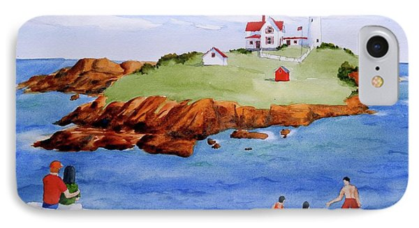 Nubble Light Family Day IPhone Case by Clifford Gleason