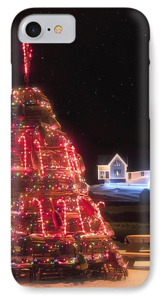 Nubble Lighthouse And The Lobster Trap Tree - York Maine IPhone Case by Joann Vitali