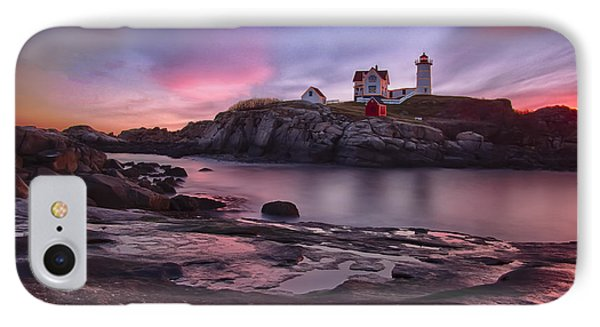 Nubble Lighthouse At Sunrise York Me IPhone Case by Betty Denise