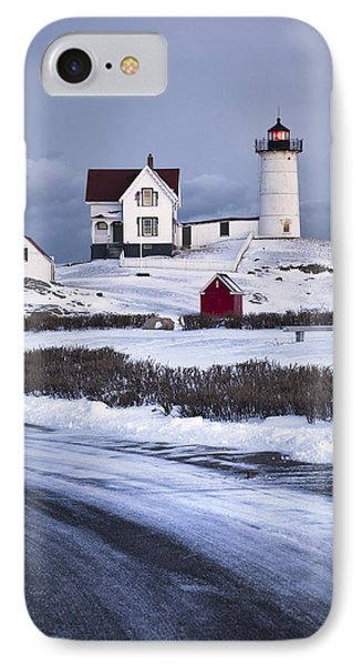 Nubble Lighthouse In The Snow IPhone Case by Eric Gendron