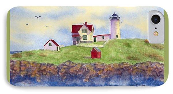Nubble Lighthouse York Maine  IPhone Case by Roseann Meserve