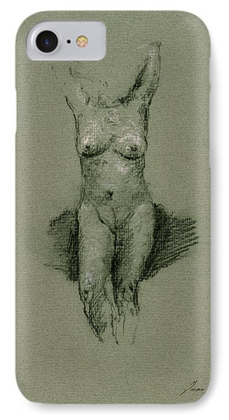 Nude Art Print Drawing IPhone Case by Juan  Bosco