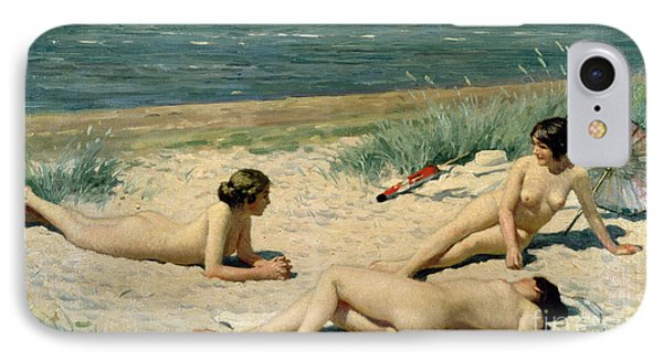 Nude Bathers On The Beach IPhone Case by Paul Fischer