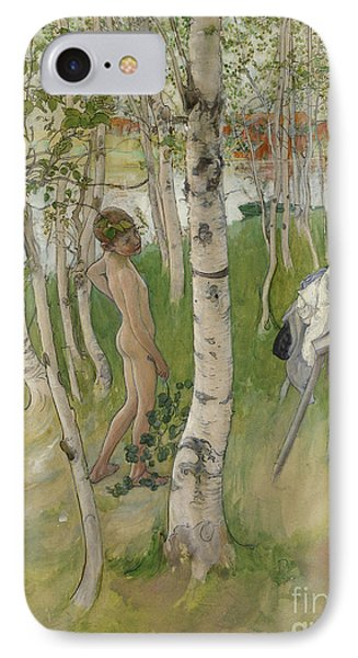 Nude Boy Among Birches IPhone Case by Carl Larsson