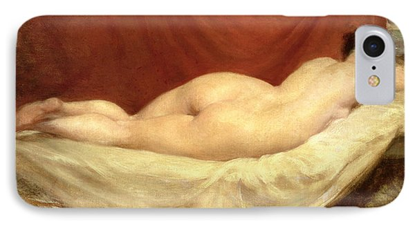 Nude Lying On A Sofa Against A Red Curtain IPhone Case by William Etty