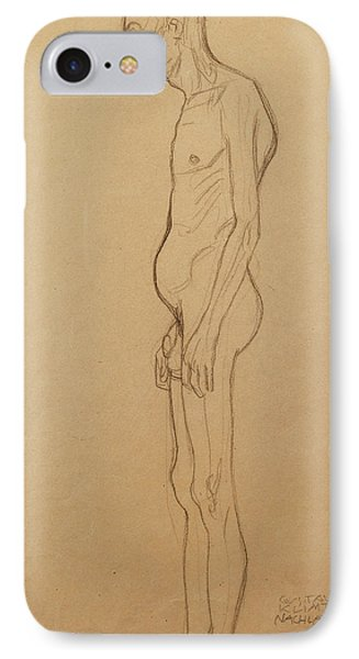 Nude Man IPhone Case by Gustav Klimt