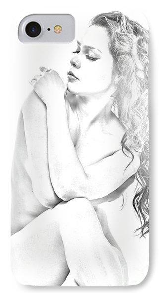 Nude Sketch IPhone Case by Kiran Joshi