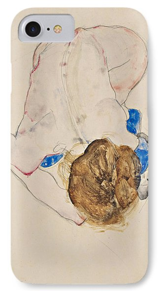 Nude With Blue Stockings, Bending Forward IPhone Case by Egon Schiele