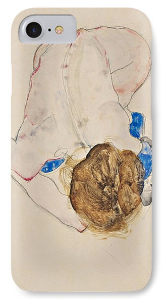 Nude With Blue Stockings, Bending Forward IPhone Case
