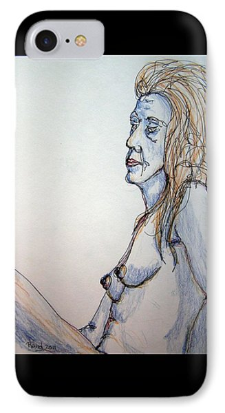 Nude With Blues IPhone Case by Rand Swift