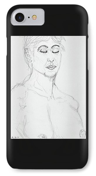 Nude With Eyes Closed IPhone Case by Rand Swift