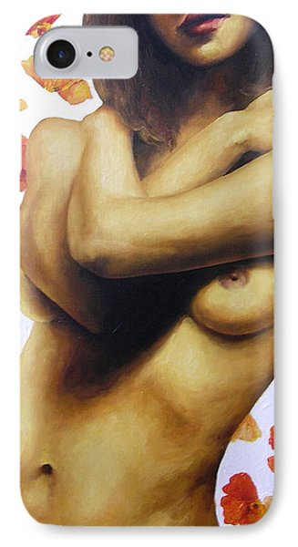 Nude With Poppies 1 Phone Case by Trisha Lambi