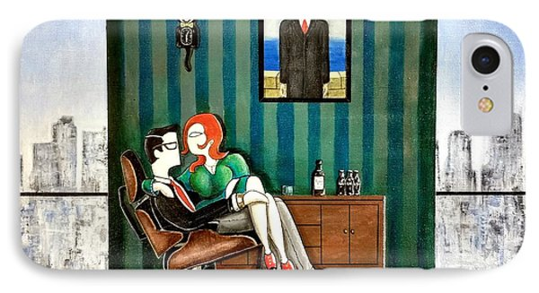 Executive Sitting In Chair With Girl Friday IPhone Case by John Lyes